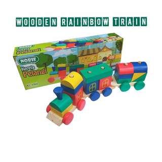 wooden rainbow train