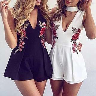 Floral Embroidered Patch Jumpsuit Playsuit Flower Embroidery