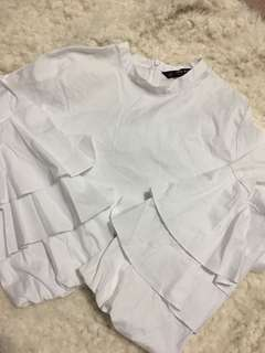 ZARA TIERED ARM POPLIN TOP