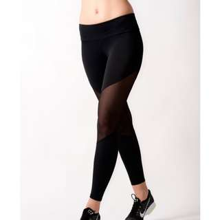 Black mesh workout high waisted casual leggings yoga pants #swap