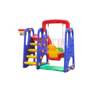 3 in 1 Playground Swing, Slide and Basketball Hoops