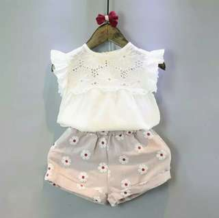 🍀Baby Girl Summer Outfits Lace Top+ Floral Shorts 2pcs Sets🍀