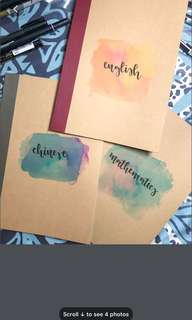 Watercolour calligraphy notebooks