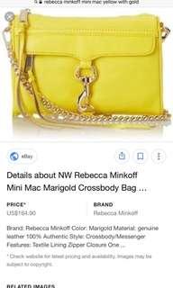 REPRICED!!!!rebecca minkoff in marigold yellow mini mac