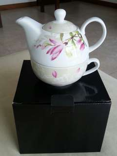Teapot porcelain with cup