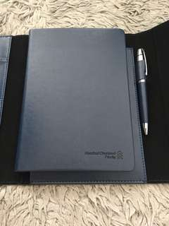 Standard Chartered Priority Customer Gift set - leather folder, notebook and Pen