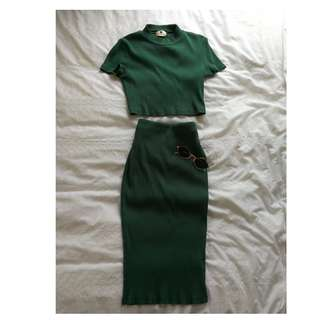 Forest green Pencil Skirt from Peppermayo
