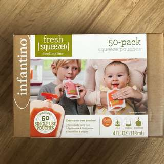 Brand New Infantino Fresh Squeezed 50-Pack Squeeze Pouches