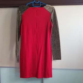MDS Red dress with gold glitter sleeve