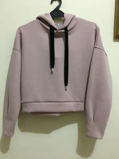 Stradivarius basic hoodie baby pink w/ velvet string