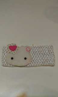[Good Condition] Infant girl kitty head band accessory   white elastic