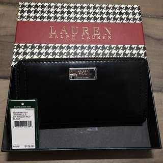 🚚 全新Ralph Lauren黑色亮皮長夾