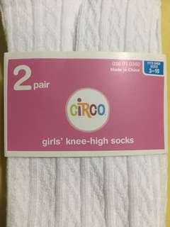 2 pair Girls' knee high socks