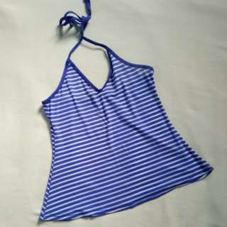 BLUE HALTER SWIM COVER UP