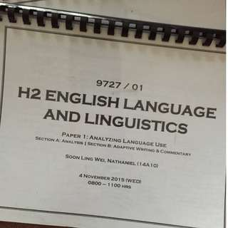 H2 English Language & Linguistics (ELL) Notes JC