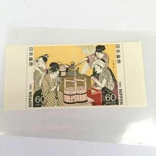 1983年昭和58年日本連體郵票2枚