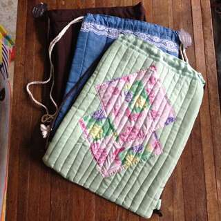 Drawstring bags: Quilted