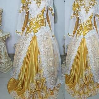 Baju pengantin wanita kebaya putih dengan payet2