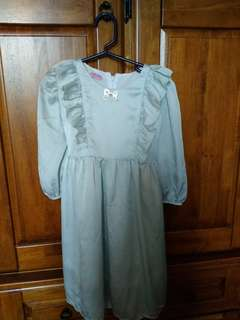 Satin chiffon mint green girl dress