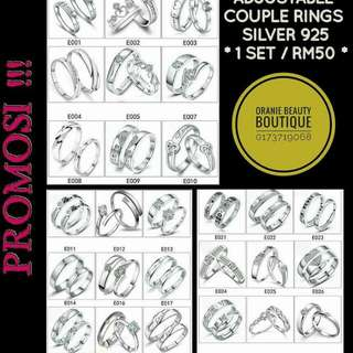 Silver 925 Couple Rings Adjustable Size