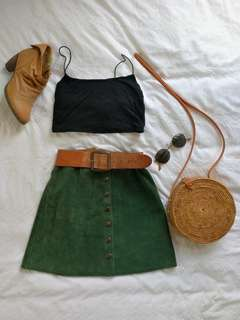Gorgeous green suede button down skirt