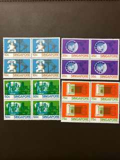 Clearing at Face Value: Singapore 1979 Telephone Service Stamps Set of 4 in Blocks of 4, Mint Not Hinged.
