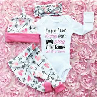 PO - Infant Baby Kids I'm Proof That Daddy Doesn't Play Video Games All The Time Outfit Set