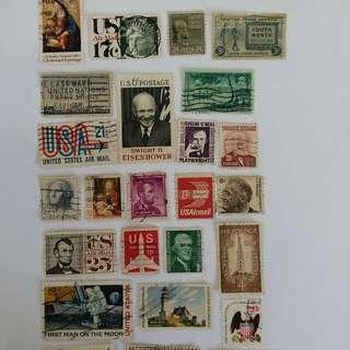 古舊美國郵票25枚