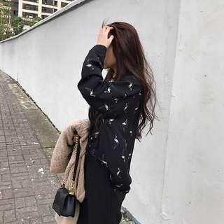 🚚 降 質感雪紡火烈鳥黑色襯衫 女 #我的女裝可超取