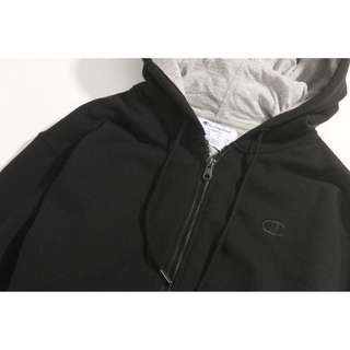 🚚 降! Champion Crewneck Sweatshirt 刷毛 薄款 連帽外套 黑 S