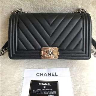 Chanel Black Chevron Medium