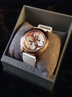 GUESS Two-Tone White and Rose Gold Silicone Watch