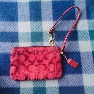 Coach Wristlet Wallet Red Authentic