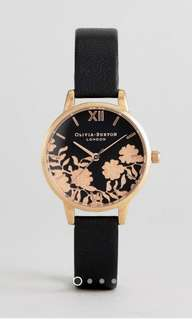 FLASH SALE! Olivia Burton Lace Detail Leather Watch in Black