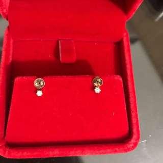 14k 黃金鑽石耳環(J's)