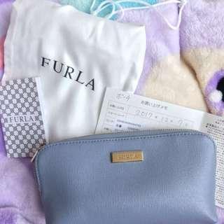 Furla 天藍色真皮化妝包