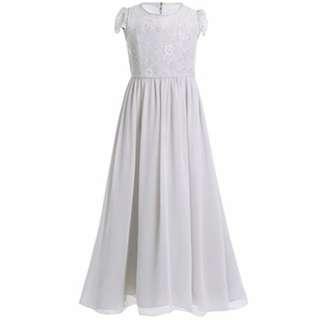 Lace Chiffon Girls Long Dress GREY Wedding Bridemaid 9-15YO