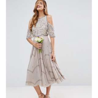 ASOS: Bridesmaid embellished floral cold shoulder midi dress....  Size: US 0, UK 4