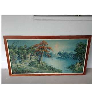 vintage oil painting village lake  / wooden frame ( 54 inch x 30 Inch )