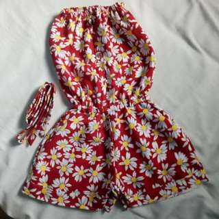 RED TUBE FLORAL ROMPER