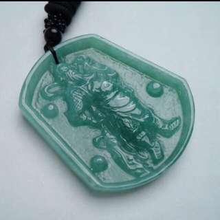 🍀Grade A 水润 Full Green 关公 Guangong Jadeite Jade Pendant/Display🍀