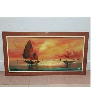 ships / sea oil painting scenery frame ( 38 inch x 20 inch )