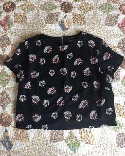 Zalora Black Floral Top