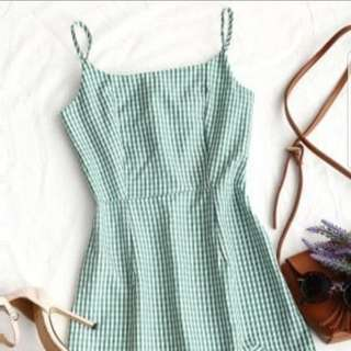 Green gingham sundress with ruffle detail