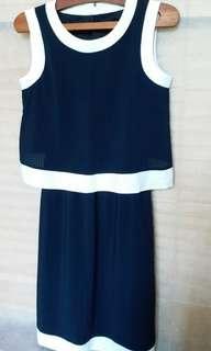 正版 Armani Jeans 寶藍色清爽連身裙 (有內襯)