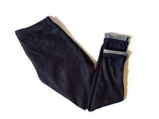 Celana jeans selvedge custom non stretch deep indigo size 33