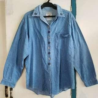 Vintage 90s flower embroidered denim shirt XXL