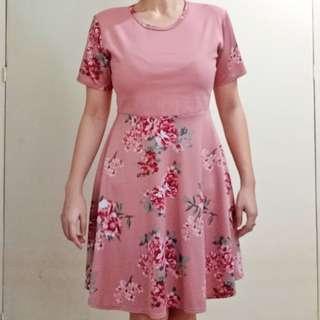 Old Rose Floral Skater Chic Dress