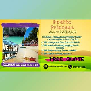 FREE QUOTE ALL IN PUERTO PRINCESA PACKAGES