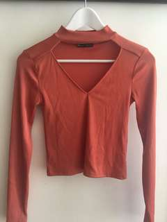 ZARA ribbed orange top